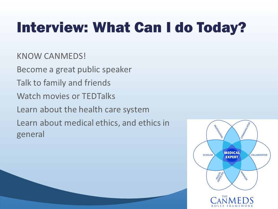 Interview: What Can I do Today. KNOW CANMEDS.