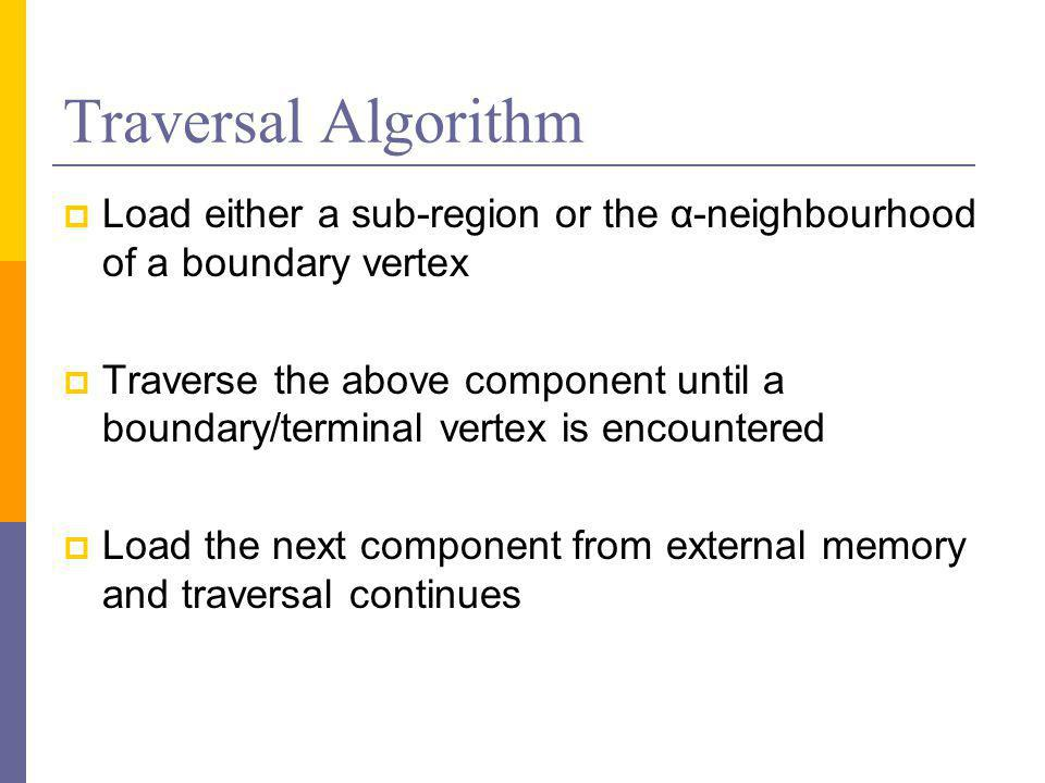 Traversal Algorithm  Load either a sub-region or the α-neighbourhood of a boundary vertex  Traverse the above component until a boundary/terminal vertex is encountered  Load the next component from external memory and traversal continues