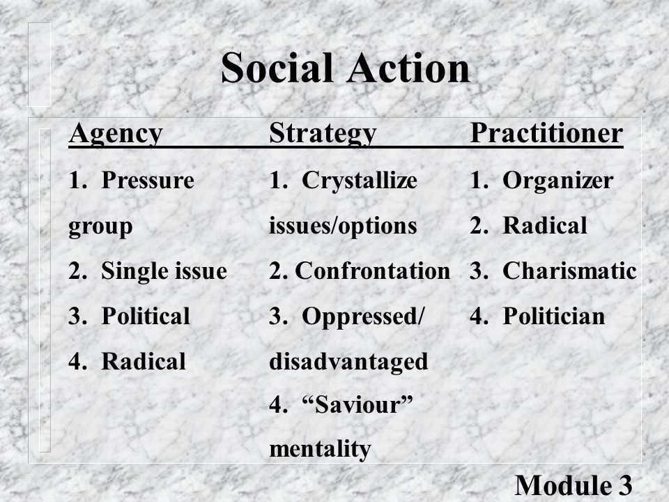 Social Action AgencyStrategyPractitioner 1. Pressure1.