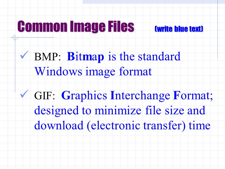 Common Image Files (write blue text) BMP: Bitmap is the standard Windows image format GIF: Graphics Interchange Format; designed to minimize file size and download (electronic transfer) time