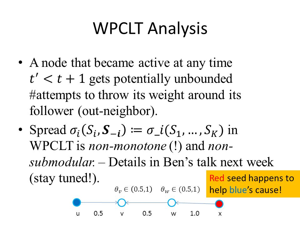 WPCLT Analysis u 0.5 v 0.5 w 1.0 x Red seed happens to help blue's cause!