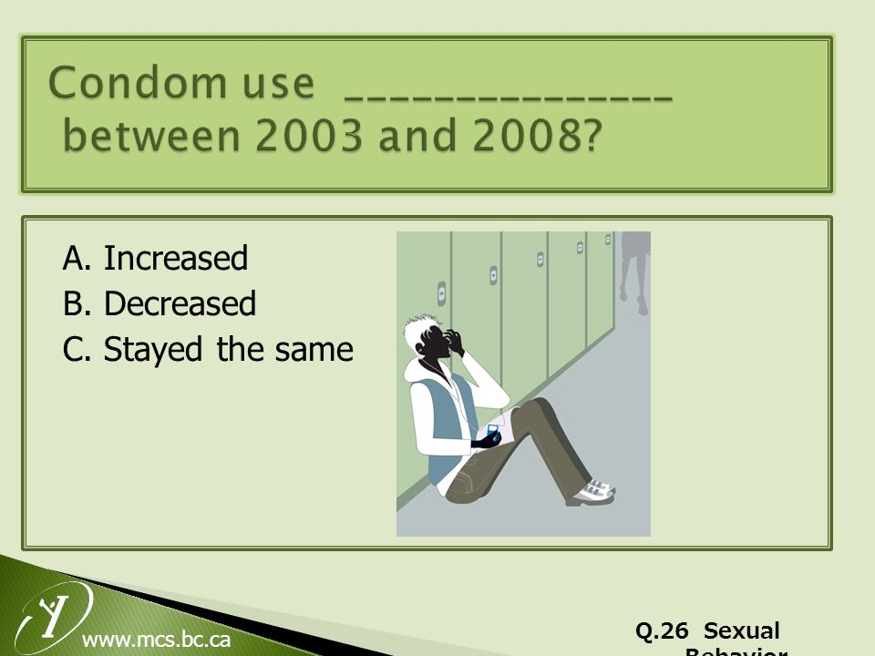 www.mcs.bc.ca A. Increased B. Decreased C. Stayed the same Q.26 Sexual Behavior