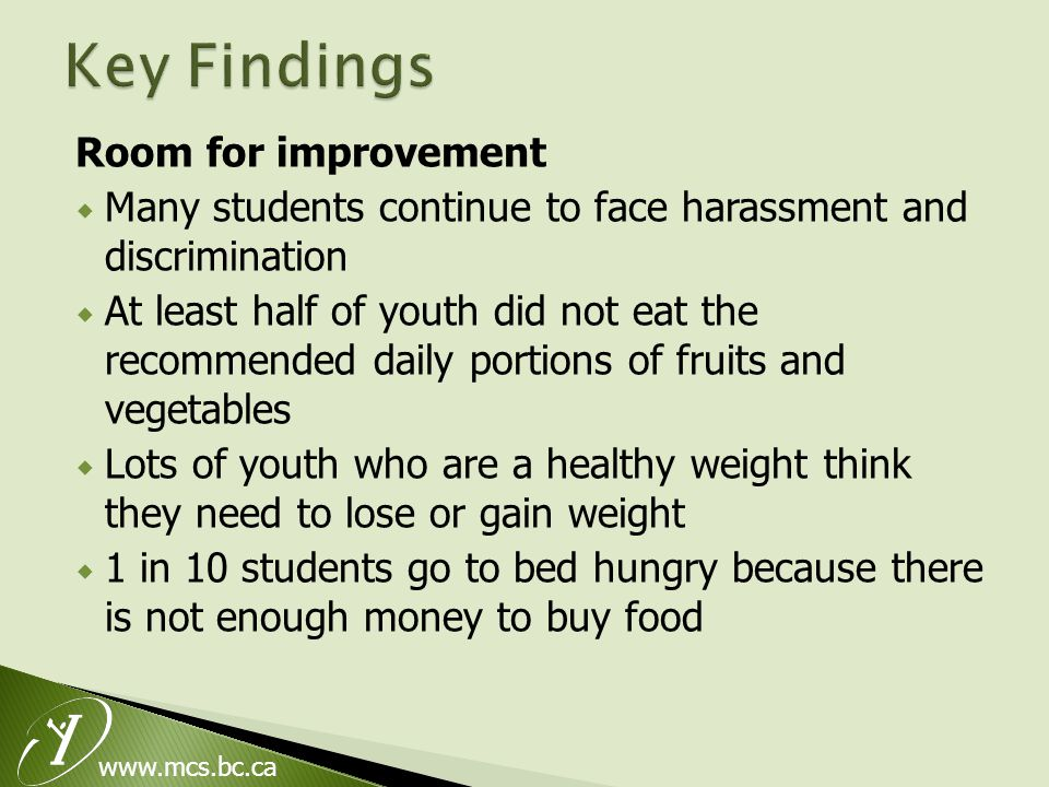 www.mcs.bc.ca Room for improvement  Many students continue to face harassment and discrimination  At least half of youth did not eat the recommended daily portions of fruits and vegetables  Lots of youth who are a healthy weight think they need to lose or gain weight  1 in 10 students go to bed hungry because there is not enough money to buy food