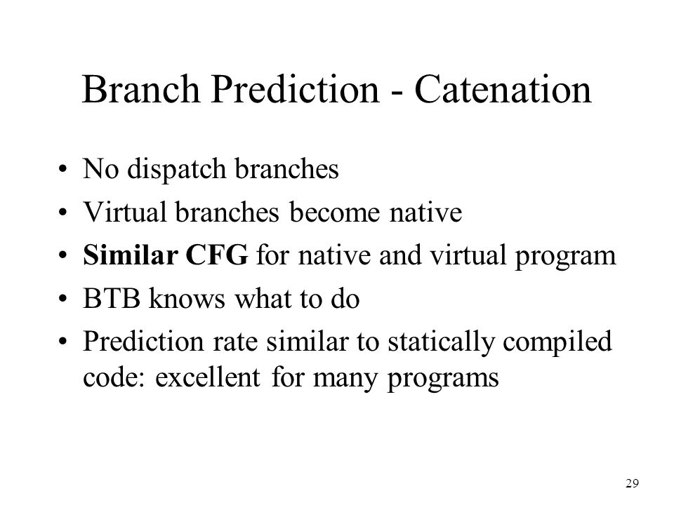 29 Branch Prediction - Catenation No dispatch branches Virtual branches become native Similar CFG for native and virtual program BTB knows what to do Prediction rate similar to statically compiled code: excellent for many programs