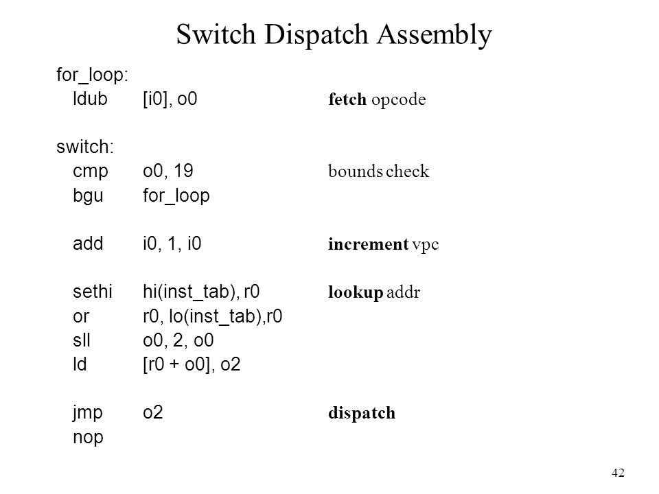 42 Switch Dispatch Assembly for_loop: ldub[i0], o0 fetch opcode switch: cmpo0, 19 bounds check bgufor_loop addi0, 1, i0 increment vpc sethihi(inst_tab), r0 lookup addr orr0, lo(inst_tab),r0 sllo0, 2, o0 ld[r0 + o0], o2 jmpo2 dispatch nop