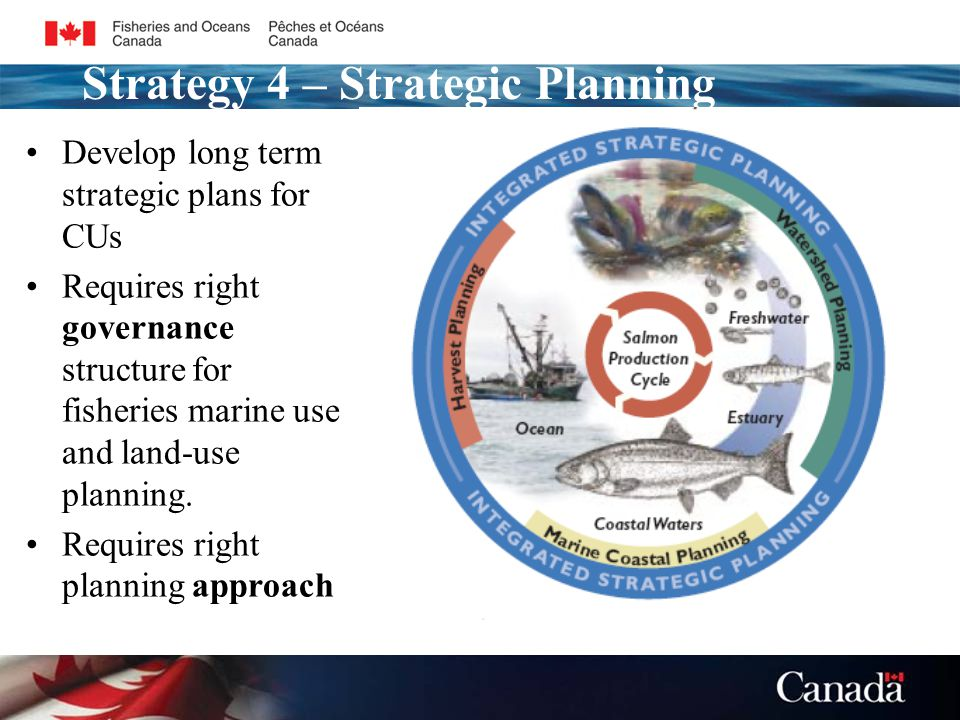 Develop long term strategic plans for CUs Requires right governance structure for fisheries marine use and land-use planning.