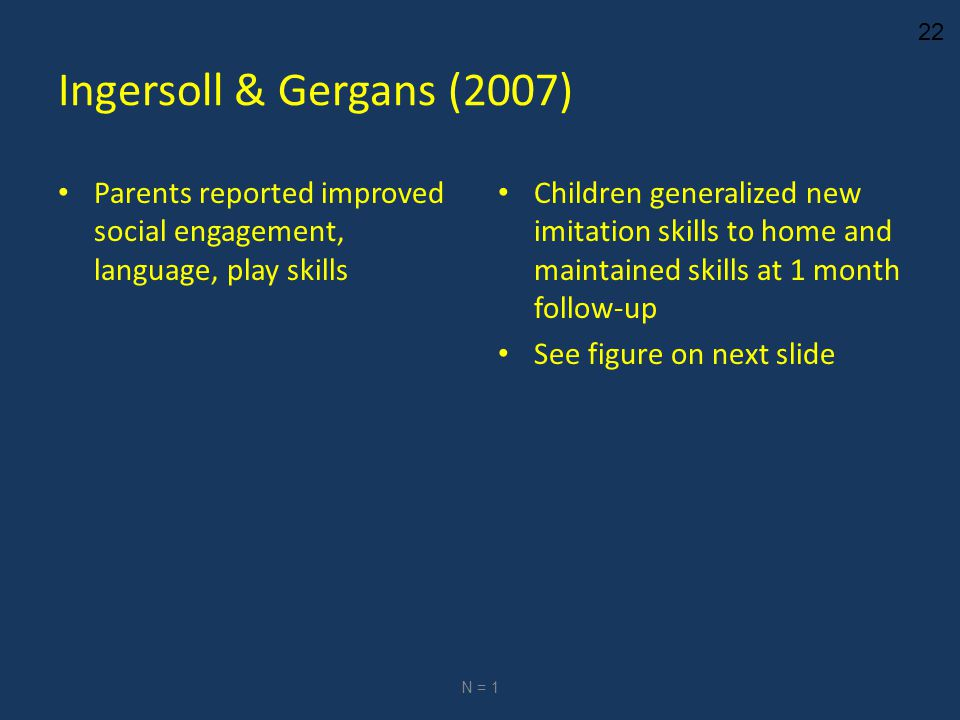 22 Ingersoll & Gergans (2007) Parents reported improved social engagement, language, play skills Children generalized new imitation skills to home and maintained skills at 1 month follow-up See figure on next slide N = 1