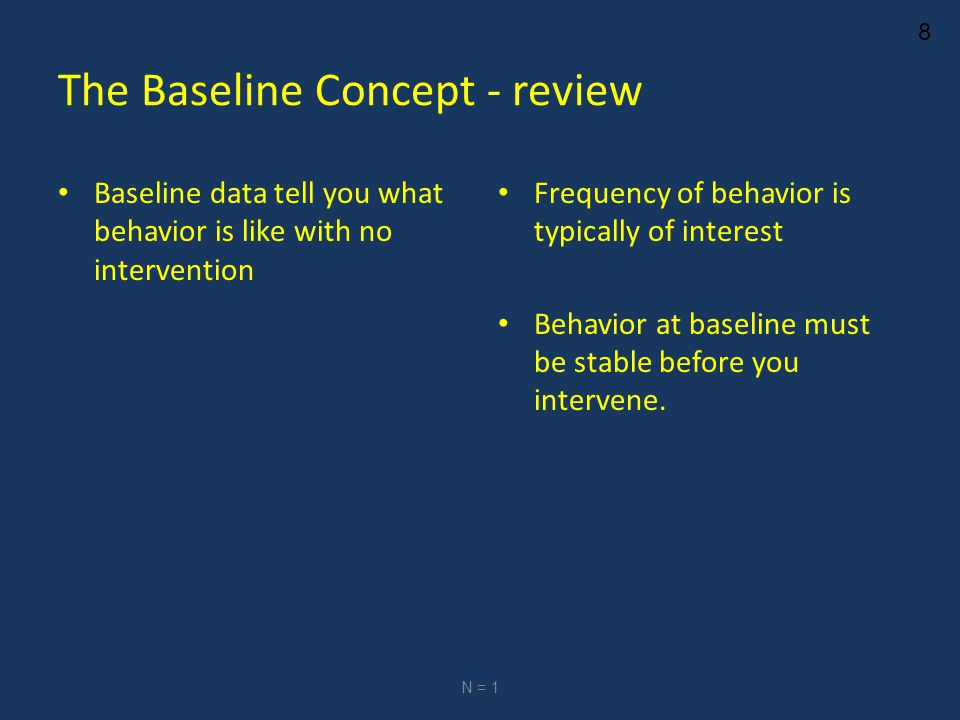 8 The Baseline Concept - review Baseline data tell you what behavior is like with no intervention Frequency of behavior is typically of interest Behavior at baseline must be stable before you intervene.