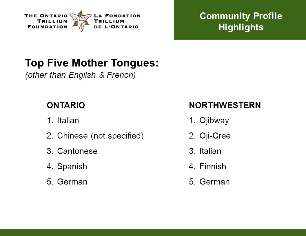 ONTARIO 1.Italian 2.Chinese (not specified) 3.Cantonese 4.Spanish 5.German NORTHWESTERN 1.Ojibway 2.Oji-Cree 3.Italian 4.Finnish 5.German Community Profile Highlights Top Five Mother Tongues: (other than English & French)