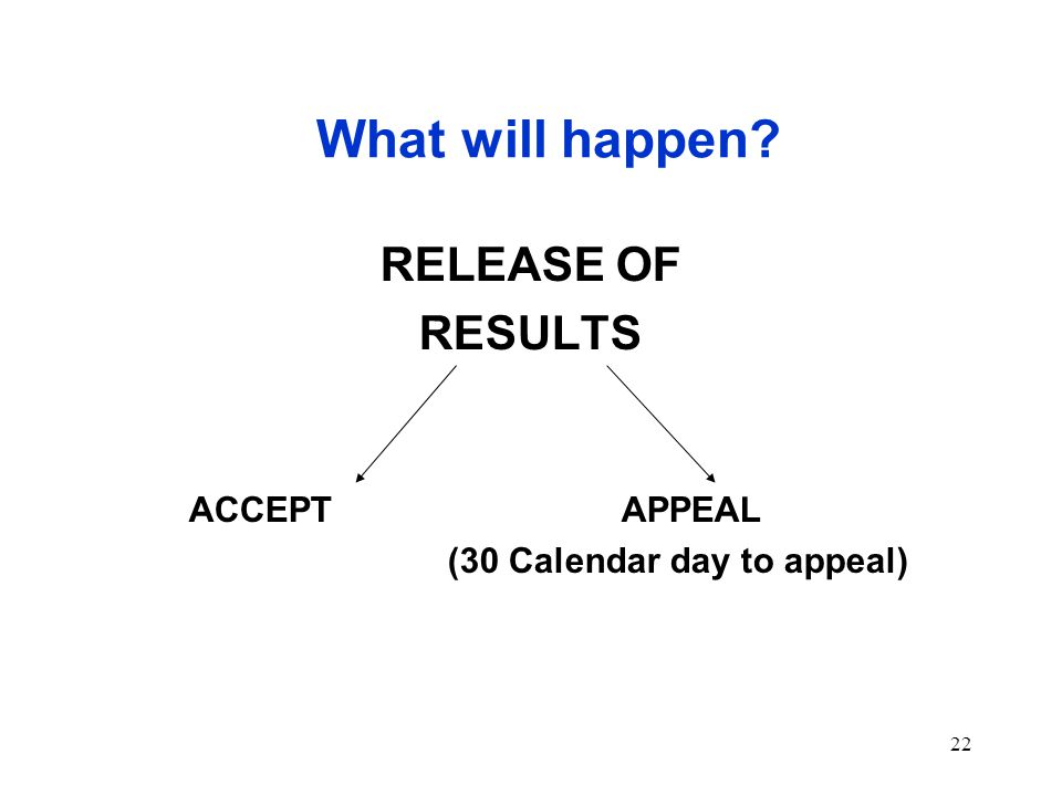 22 What will happen RELEASE OF RESULTS ACCEPT APPEAL (30 Calendar day to appeal)