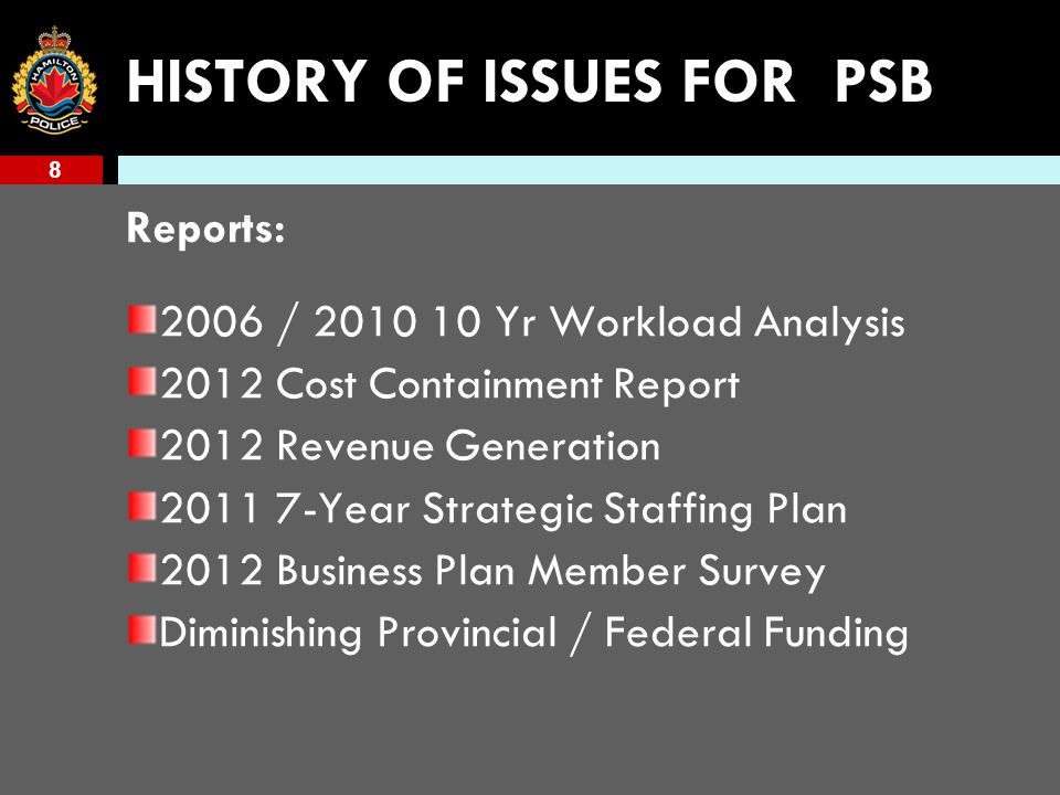 8 HISTORY OF ISSUES FOR PSB Reports: 2006 / 2010 10 Yr Workload Analysis 2012 Cost Containment Report 2012 Revenue Generation 2011 7-Year Strategic Staffing Plan 2012 Business Plan Member Survey Diminishing Provincial / Federal Funding