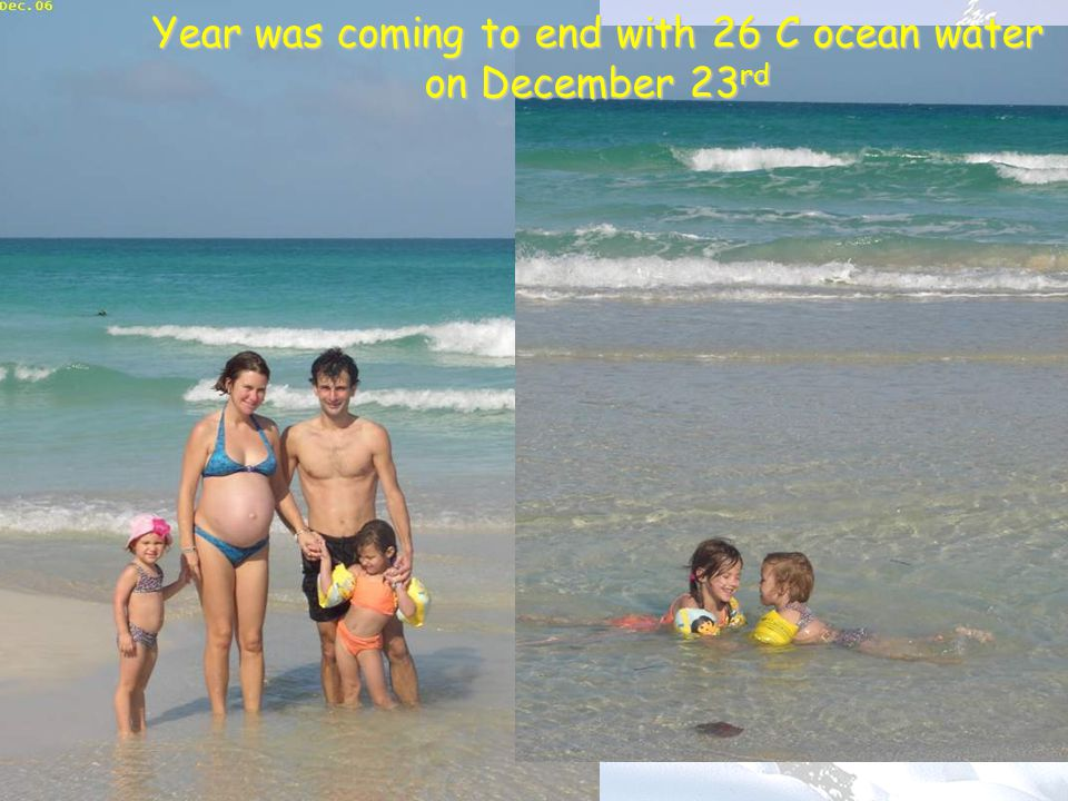 Year was coming to end with 26 C ocean water on December 23 rd