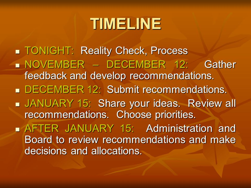 TIMELINE TONIGHT: Reality Check, Process TONIGHT: Reality Check, Process NOVEMBER – DECEMBER 12: Gather feedback and develop recommendations.