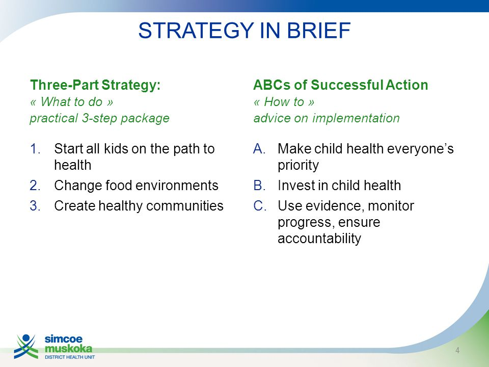 STRATEGY IN BRIEF Three-Part Strategy: « What to do » practical 3-step package 1.Start all kids on the path to health 2.Change food environments 3.Create healthy communities ABCs of Successful Action « How to » advice on implementation A.Make child health everyone's priority B.Invest in child health C.Use evidence, monitor progress, ensure accountability 4