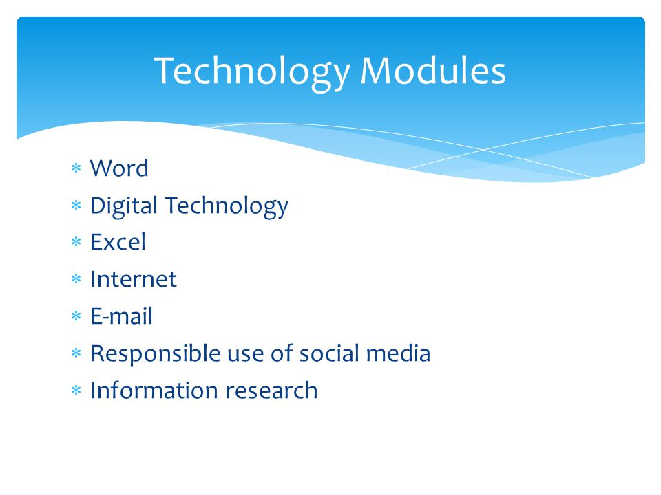  Word  Digital Technology  Excel  Internet  E-mail  Responsible use of social media  Information research Technology Modules