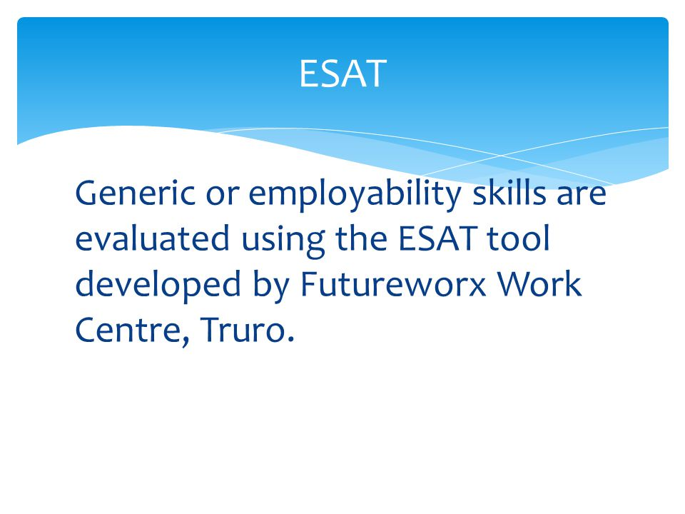 Generic or employability skills are evaluated using the ESAT tool developed by Futureworx Work Centre, Truro.