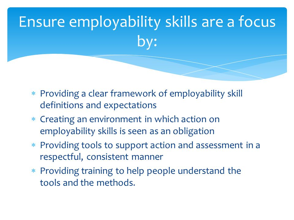 Ensure employability skills are a focus by:  Providing a clear framework of employability skill definitions and expectations  Creating an environment in which action on employability skills is seen as an obligation  Providing tools to support action and assessment in a respectful, consistent manner  Providing training to help people understand the tools and the methods.