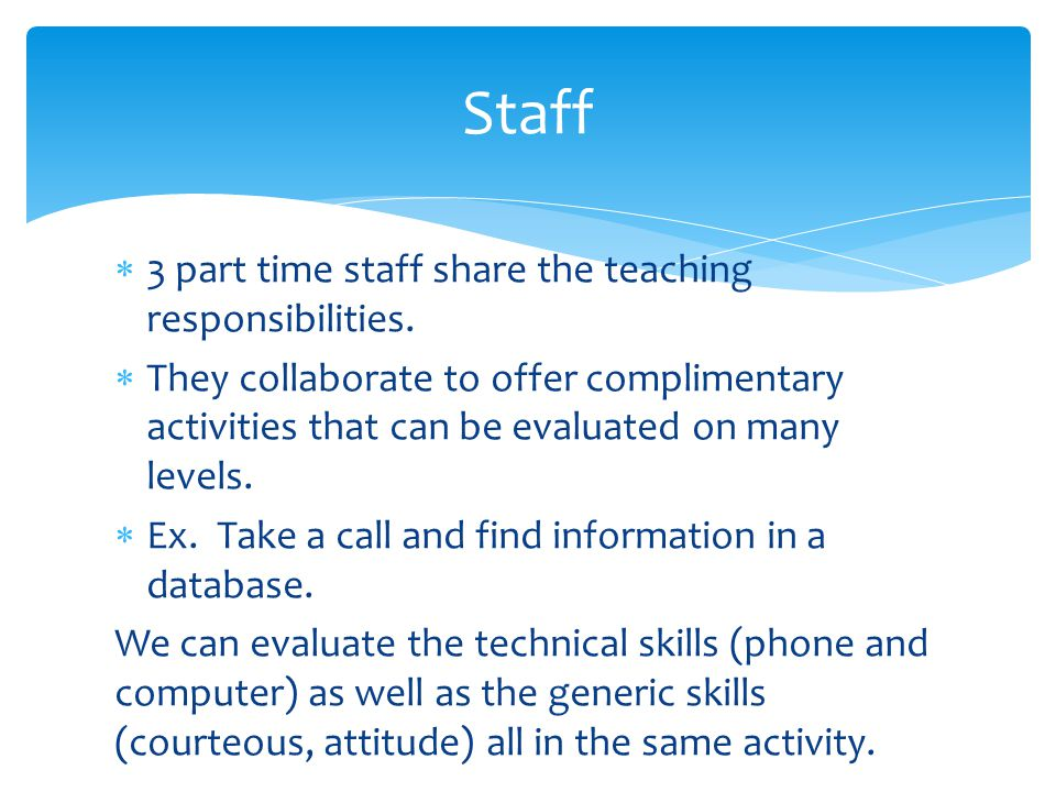  3 part time staff share the teaching responsibilities.