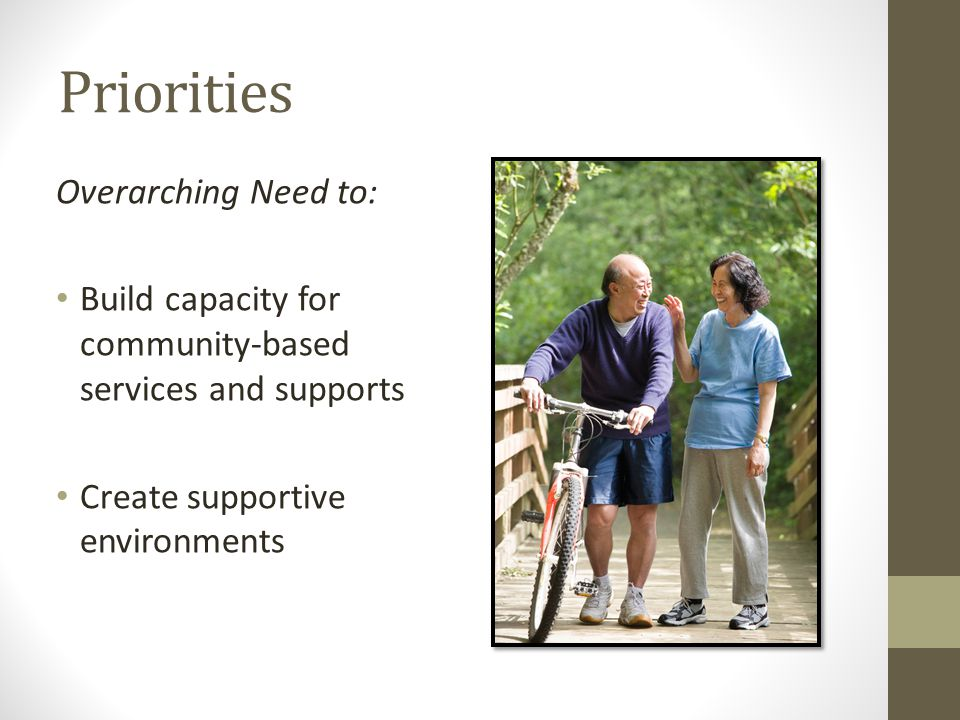 Priorities Overarching Need to: Build capacity for community-based services and supports Create supportive environments