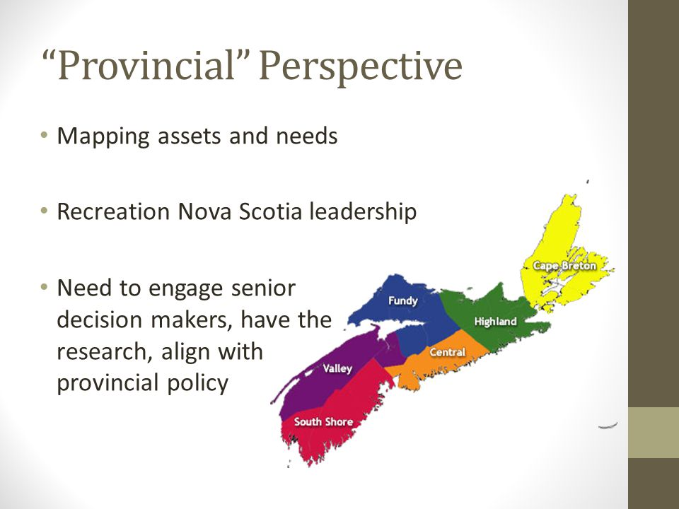 Provincial Perspective Mapping assets and needs Recreation Nova Scotia leadership Need to engage senior decision makers, have the research, align with provincial policy