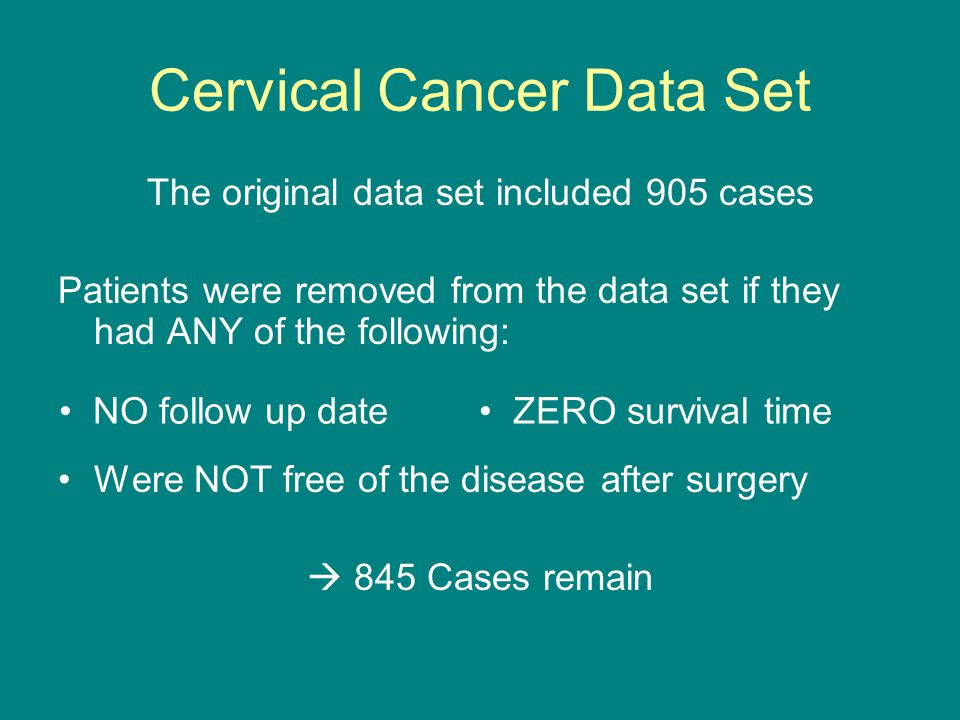 Cervical Cancer Data Set The original data set included 905 cases Patients were removed from the data set if they had ANY of the following: Were NOT free of the disease after surgery  845 Cases remain NO follow up date ZERO survival time