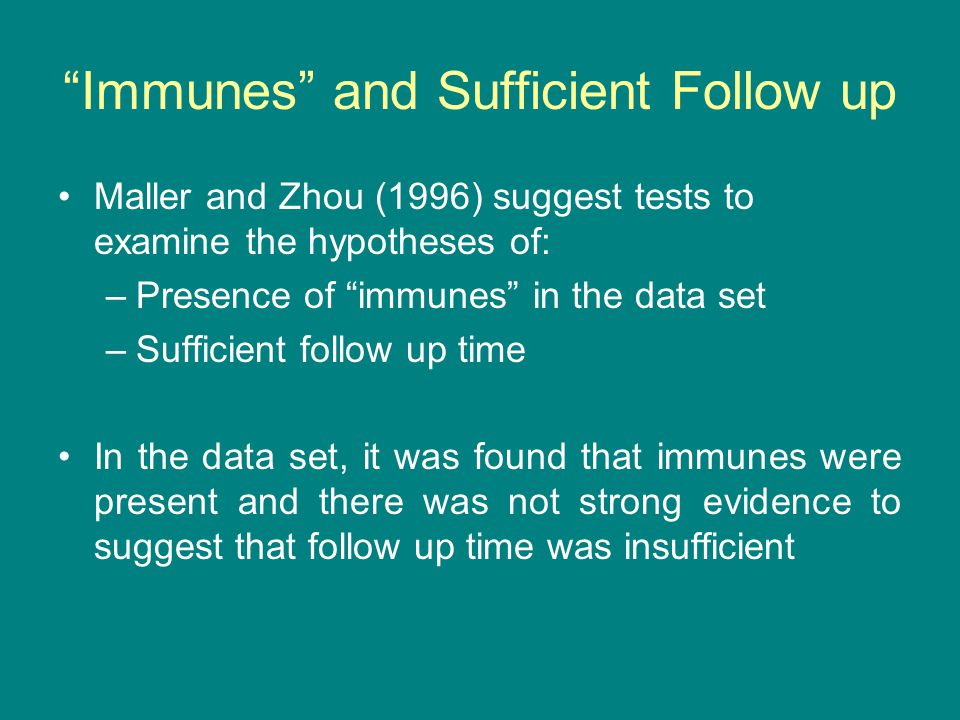 Immunes and Sufficient Follow up Maller and Zhou (1996) suggest tests to examine the hypotheses of: –Presence of immunes in the data set –Sufficient follow up time In the data set, it was found that immunes were present and there was not strong evidence to suggest that follow up time was insufficient
