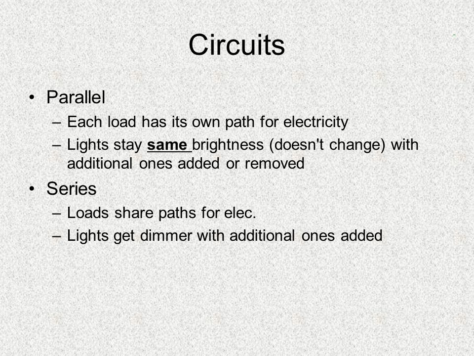 Circuits Pathway for electricity – electrons flow like water Electric Circuits –Large current & voltage Controlled by switches Closed switch means power flows –Circuit diagrams Symbols Working or not