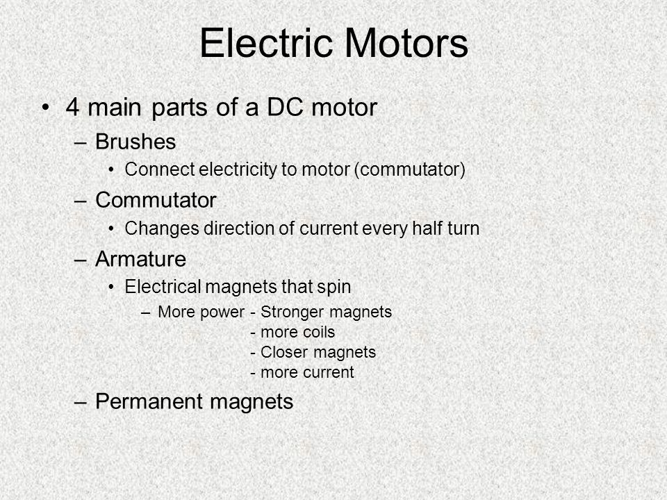 Making / Using Electricity Battery (chemical cell) – chemical to electrical –2 different metals (electrodes) & electrolyte solution Thermocouple – heat (thermal) to electrical Resistor – electrical to heat Motor – electrical to mechanical Generator – mechanical to electrical Light bulb – electrical to light (resistor – filament) Solar cell – light to electrical
