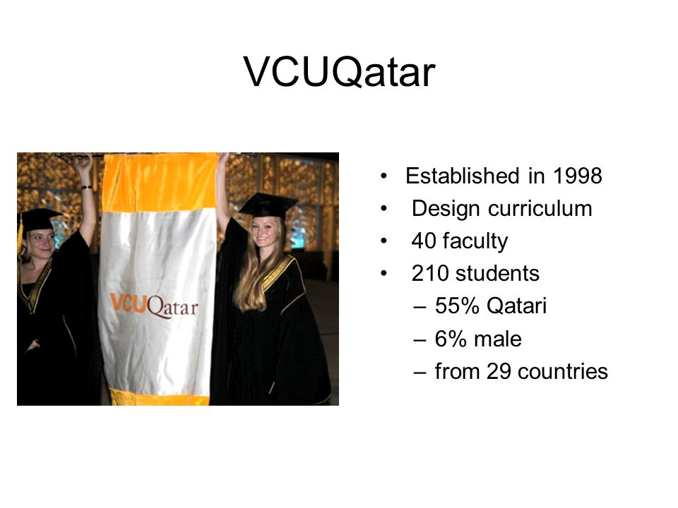 Established in 1998 Design curriculum 40 faculty 210 students –55% Qatari –6% male –from 29 countries