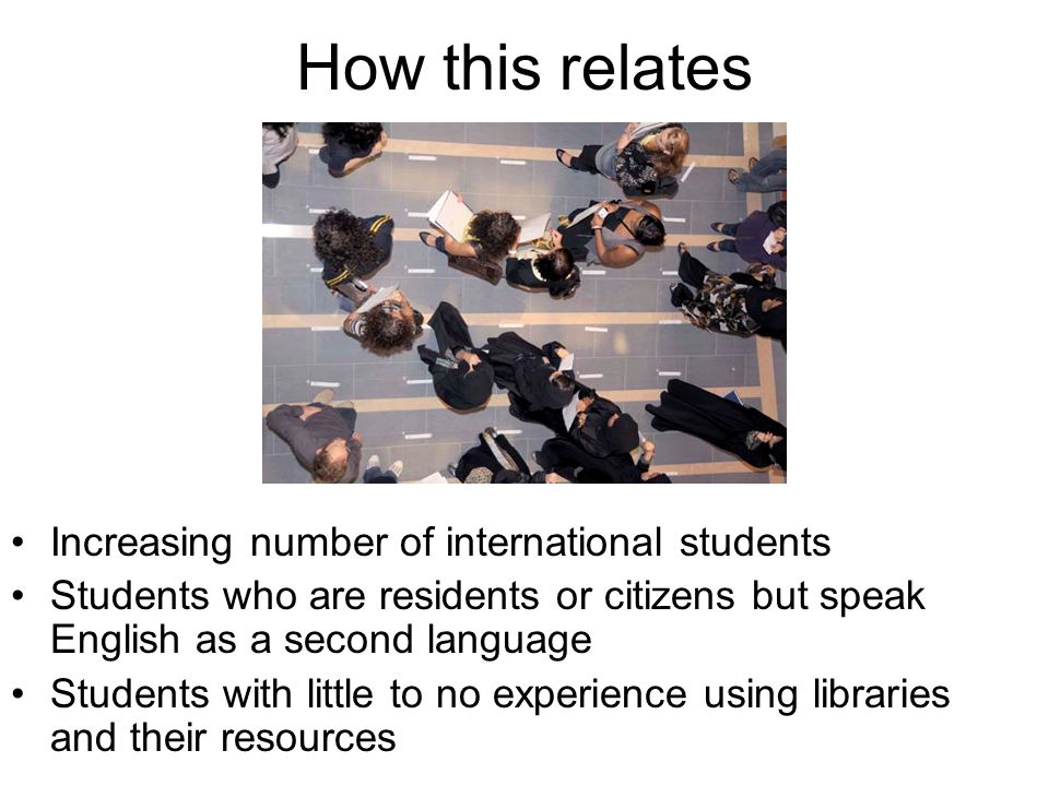 How this relates Increasing number of international students Students who are residents or citizens but speak English as a second language Students with little to no experience using libraries and their resources