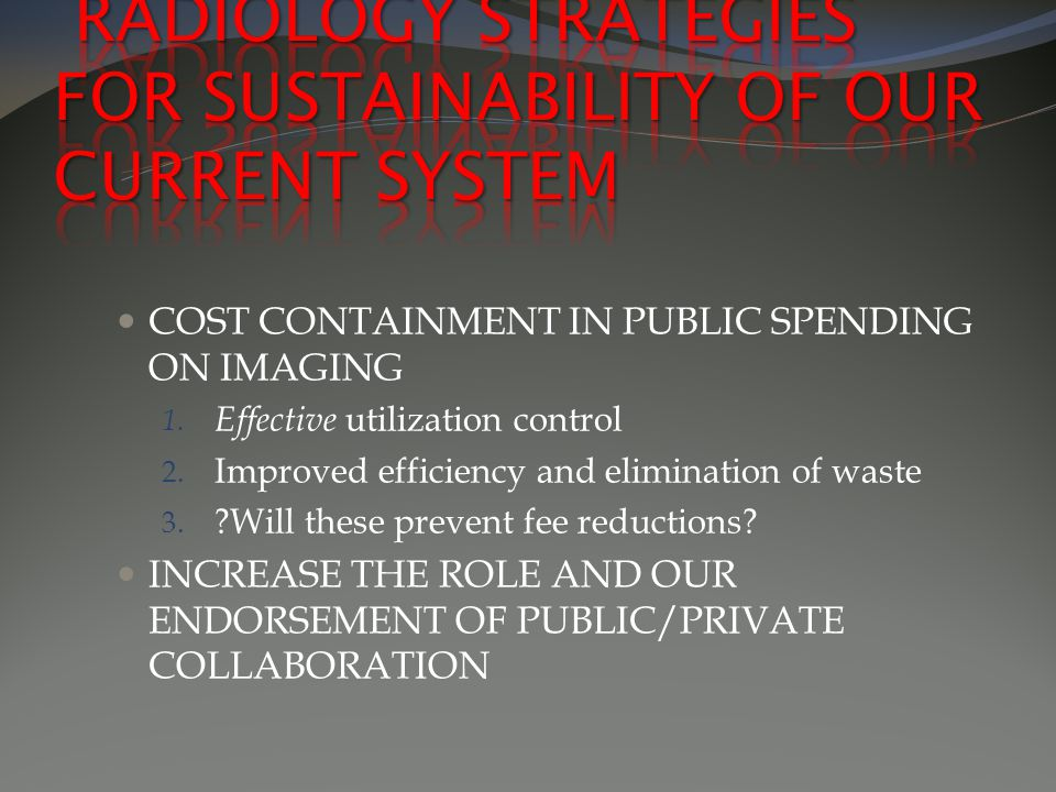 COST CONTAINMENT IN PUBLIC SPENDING ON IMAGING 1. Effective utilization control 2.