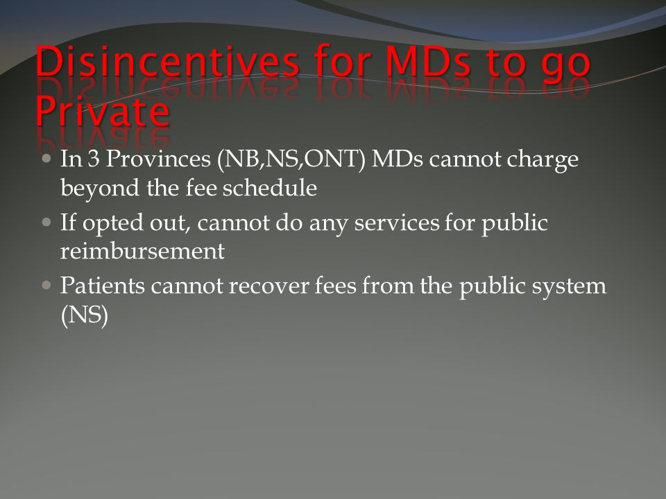 In 3 Provinces (NB,NS,ONT) MDs cannot charge beyond the fee schedule If opted out, cannot do any services for public reimbursement Patients cannot recover fees from the public system (NS)