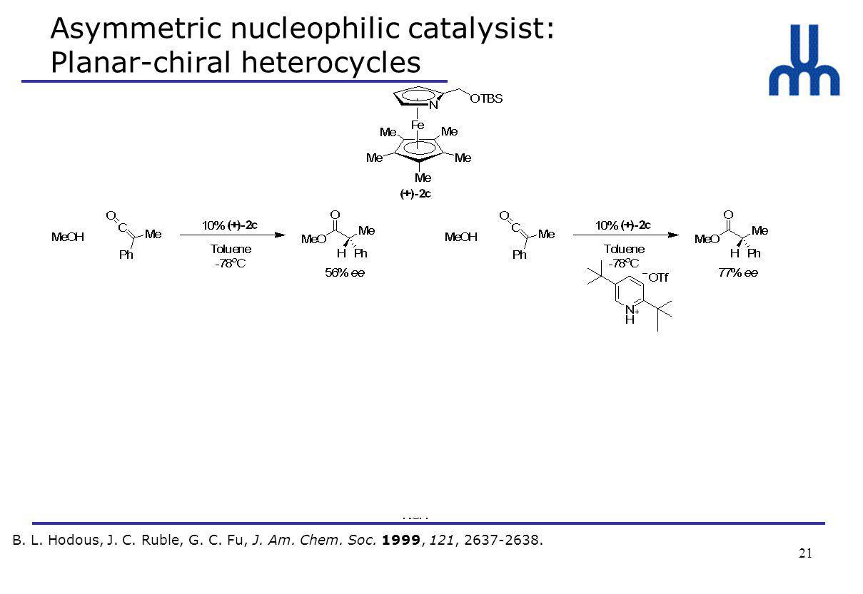 21 Asymmetric nucleophilic catalysist: Planar-chiral heterocycles B.