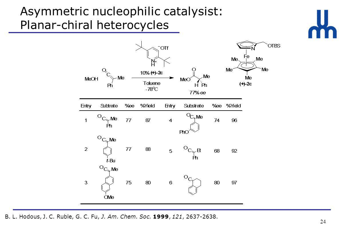 24 Asymmetric nucleophilic catalysist: Planar-chiral heterocycles B.