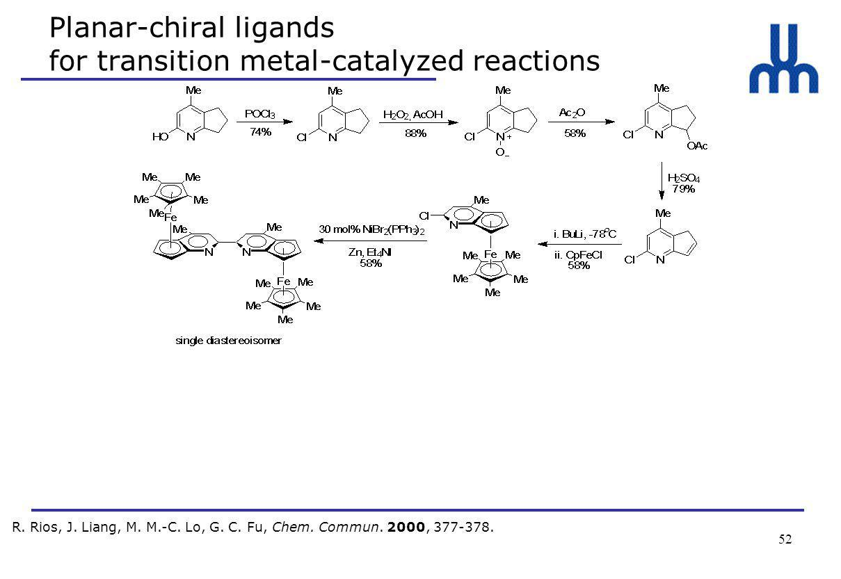 52 Planar-chiral ligands for transition metal-catalyzed reactions R.