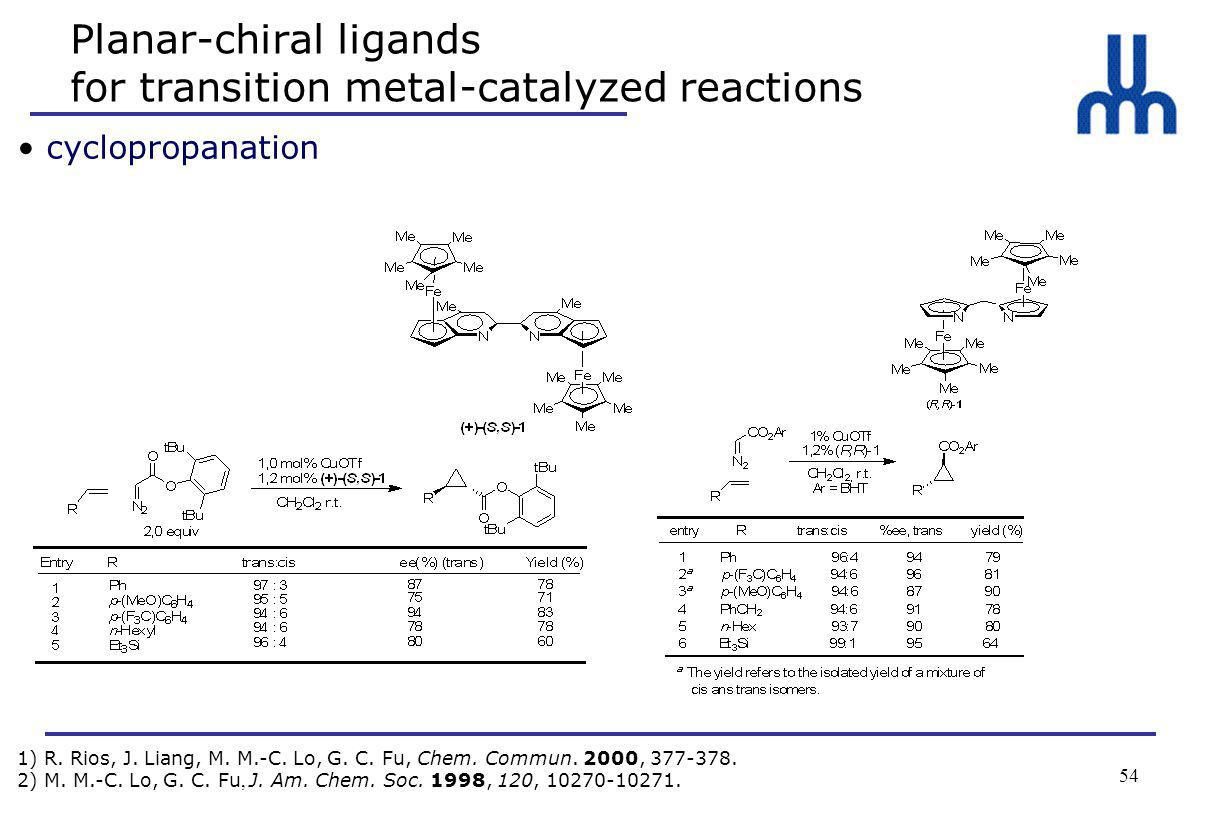 54 Planar-chiral ligands for transition metal-catalyzed reactions cyclopropanation 1) R.