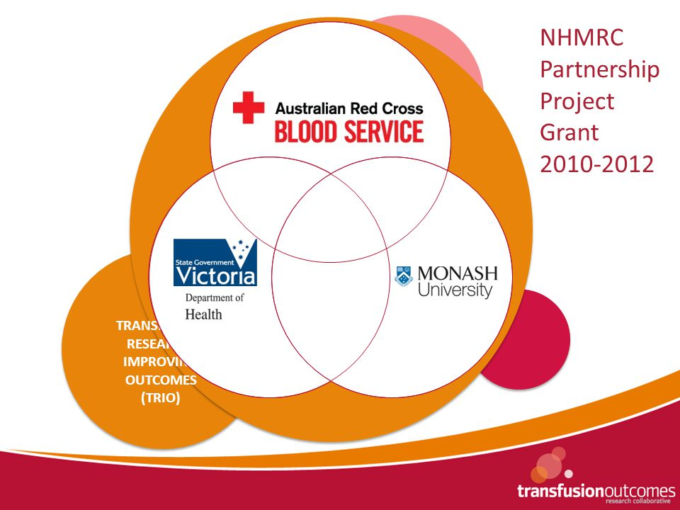 TTP Registry NAIT Registry Aplastic Anaemia Registry Early Coagulopathy of Trauma Pandemic Project Massive Transfusion Registry TRANSFUSION RESEARCH: IMPROVING OUTCOMES (TRIO) NHMRC Partnership Project Grant 2010-2012