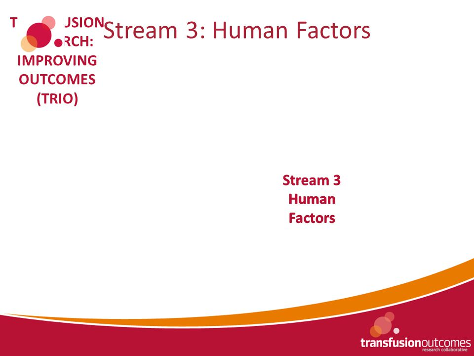 Stream 1 Registry Data Stream 2 Modelling & Monitoring TRANSFUSION RESEARCH: IMPROVING OUTCOMES (TRIO) Stream 3: Human Factors Stream 3 Human Factors Stream 3 Human Factors