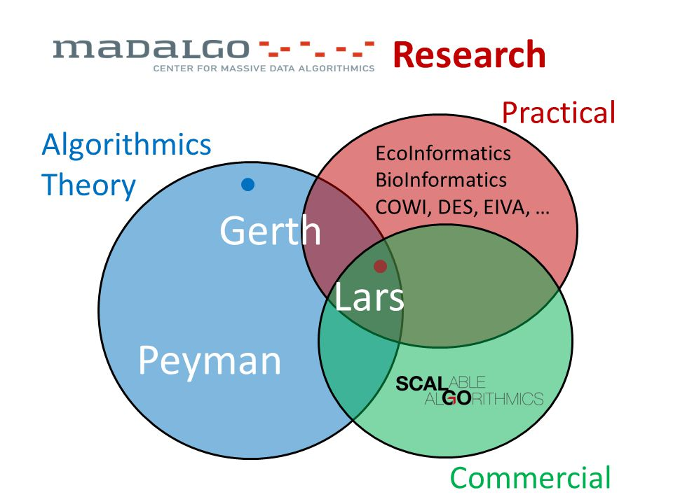 Research Algorithmics Theory Practical Commercial Peyman Gerth Lars EcoInformatics BioInformatics COWI, DES, EIVA, …