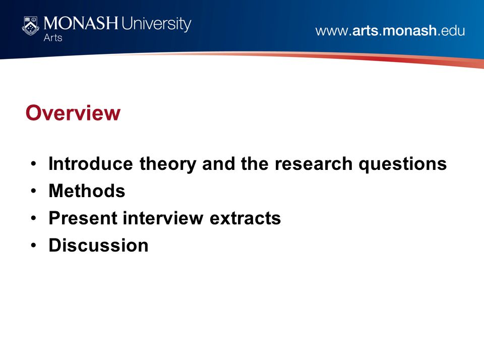 Overview Introduce theory and the research questions Methods Present interview extracts Discussion