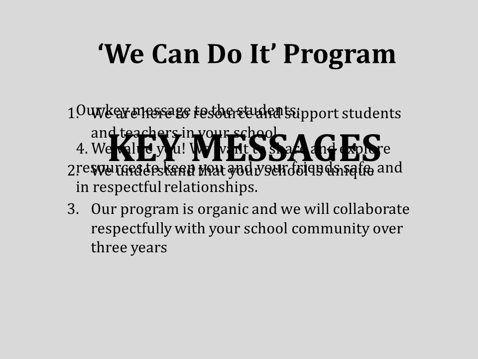 'We Can Do It' Program KEY MESSAGES 1.We are here to resource and support students and teachers in your school 2.We understand that your school is unique 3.Our program is organic and we will collaborate respectfully with your school community over three years Our key message to the students: 4.