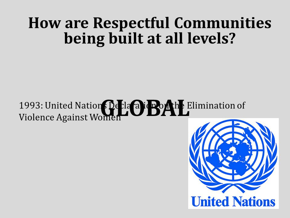 GLOBAL How are Respectful Communities being built at all levels.