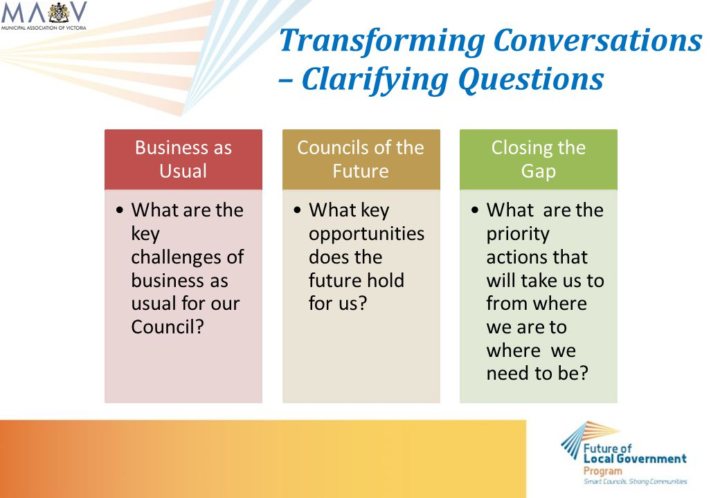 Transforming Conversations – Clarifying Questions Business as Usual What are the key challenges of business as usual for our Council.