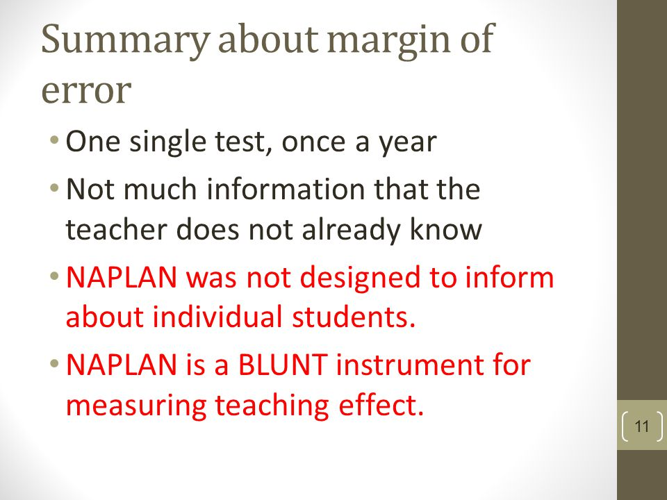 Summary about margin of error One single test, once a year Not much information that the teacher does not already know NAPLAN was not designed to inform about individual students.