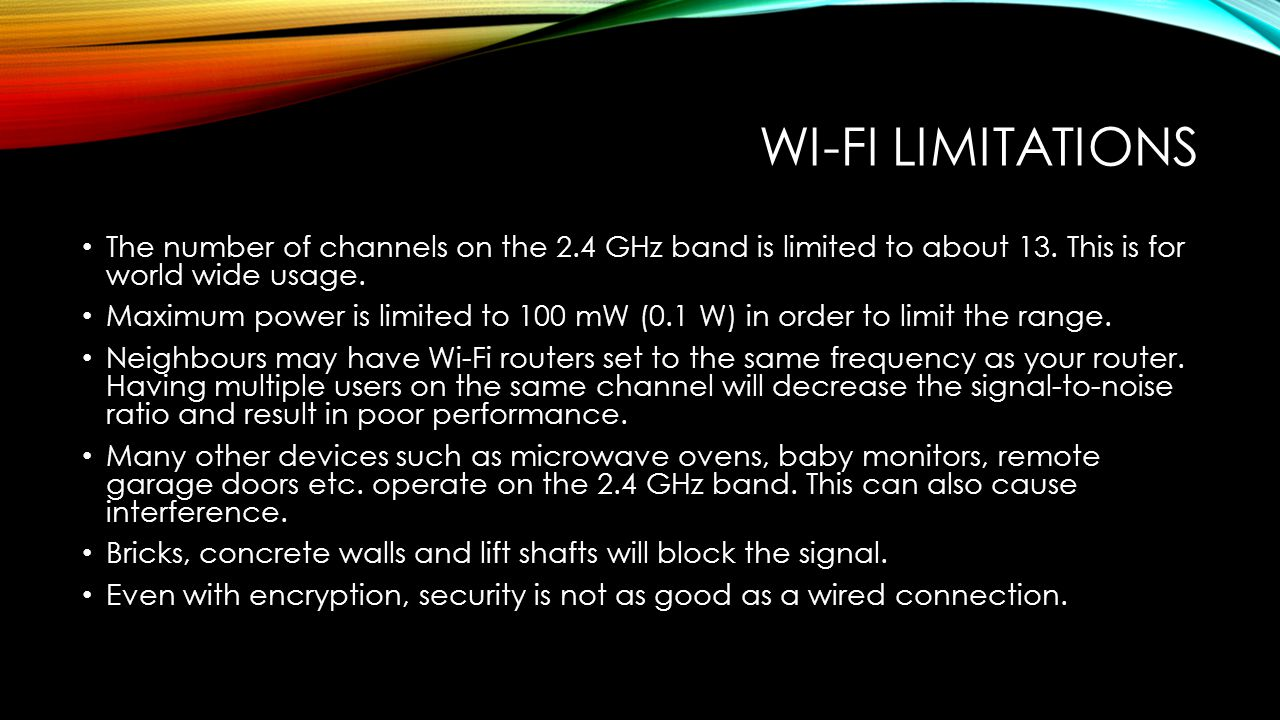 WI-FI LIMITATIONS The number of channels on the 2.4 GHz band is limited to about 13.