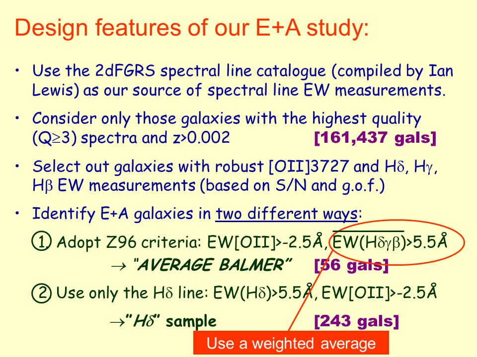 Design features of our E+A study: Use the 2dFGRS spectral line catalogue (compiled by Ian Lewis) as our source of spectral line EW measurements.