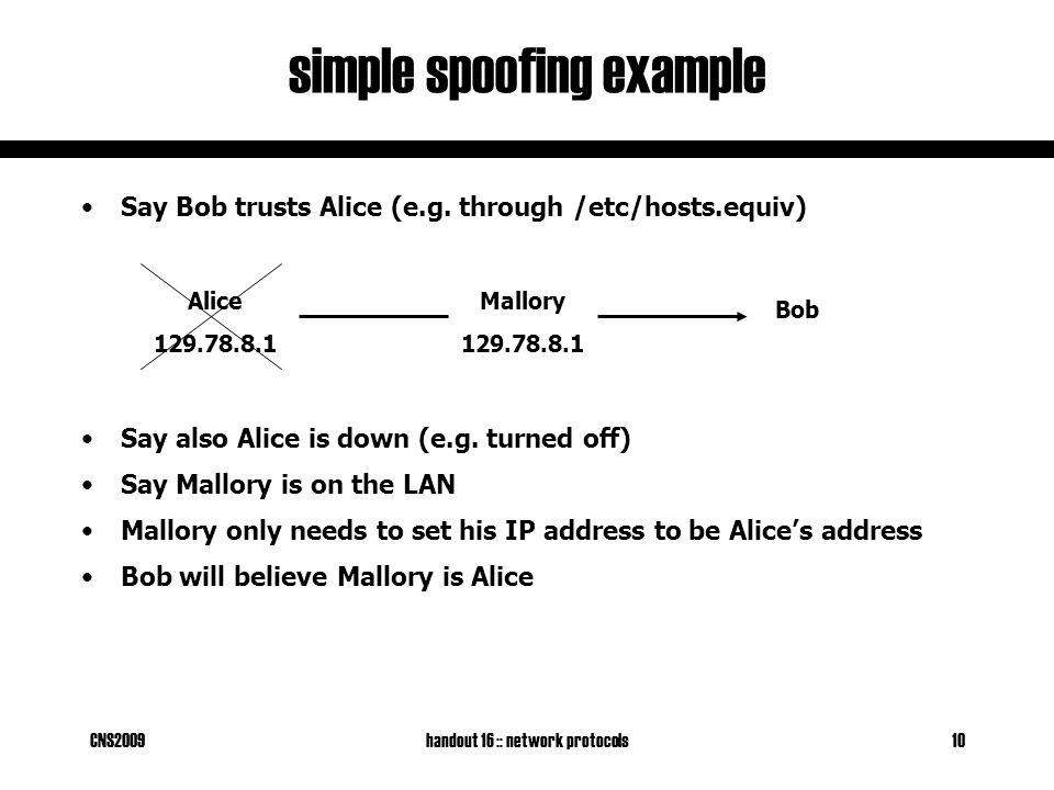 CNS2009handout 16 :: network protocols10 simple spoofing example Say Bob trusts Alice (e.g.