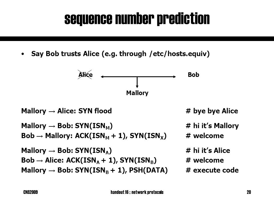 CNS2009handout 16 :: network protocols20 sequence number prediction BobAlice Say Bob trusts Alice (e.g.