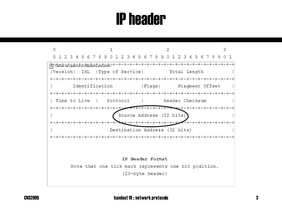 CNS2009handout 16 :: network protocols3 IP header 0 1 2 3 0 1 2 3 4 5 6 7 8 9 0 1 2 3 4 5 6 7 8 9 0 1 2 3 4 5 6 7 8 9 0 1 +-+-+-+-+-+-+-+-+-+-+-+-+-+-+-+-+-+-+-+-+-+-+-+-+-+-+-+-+-+-+-+-+ |Version| IHL |Type of Service| Total Length | +-+-+-+-+-+-+-+-+-+-+-+-+-+-+-+-+-+-+-+-+-+-+-+-+-+-+-+-+-+-+-+-+ | Identification |Flags| Fragment Offset | +-+-+-+-+-+-+-+-+-+-+-+-+-+-+-+-+-+-+-+-+-+-+-+-+-+-+-+-+-+-+-+-+ | Time to Live | Protocol | Header Checksum | +-+-+-+-+-+-+-+-+-+-+-+-+-+-+-+-+-+-+-+-+-+-+-+-+-+-+-+-+-+-+-+-+ | Source Address (32 bits) | +-+-+-+-+-+-+-+-+-+-+-+-+-+-+-+-+-+-+-+-+-+-+-+-+-+-+-+-+-+-+-+-+ | Destination Address (32 bits) | +-+-+-+-+-+-+-+-+-+-+-+-+-+-+-+-+-+-+-+-+-+-+-+-+-+-+-+-+-+-+-+-+ IP Header Format Note that one tick mark represents one bit position.