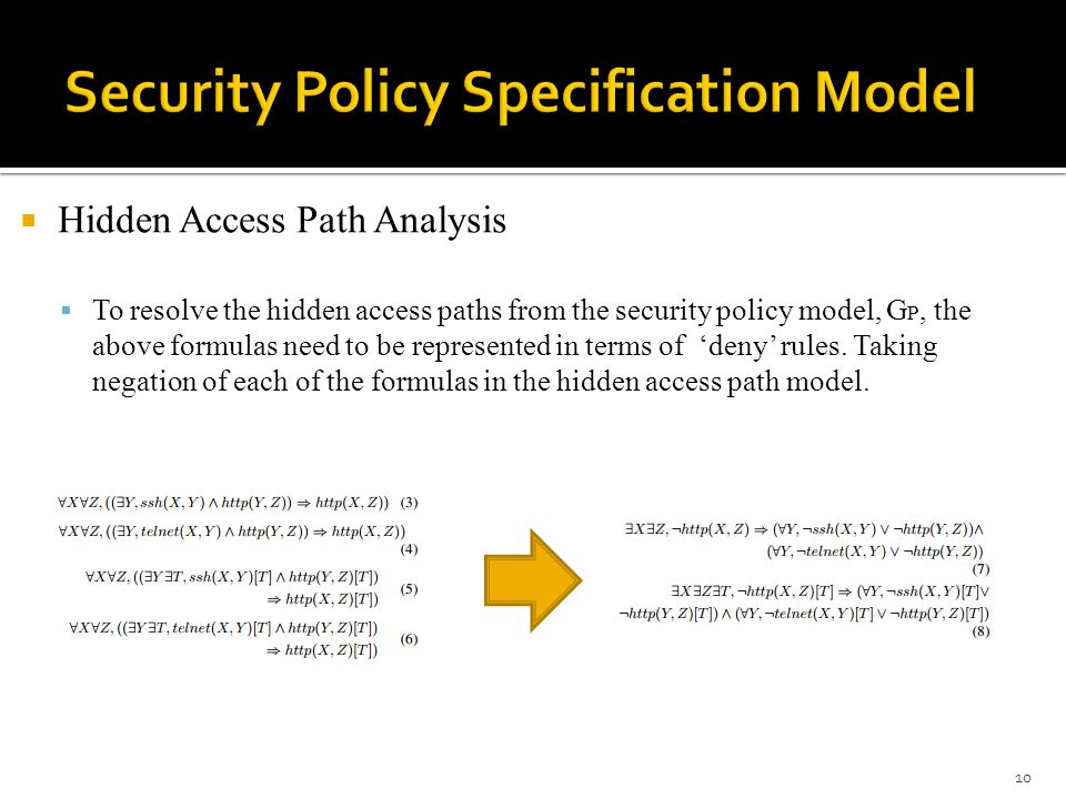  Hidden Access Path Analysis  To resolve the hidden access paths from the security policy model, G P, the above formulas need to be represented in terms of 'deny' rules.